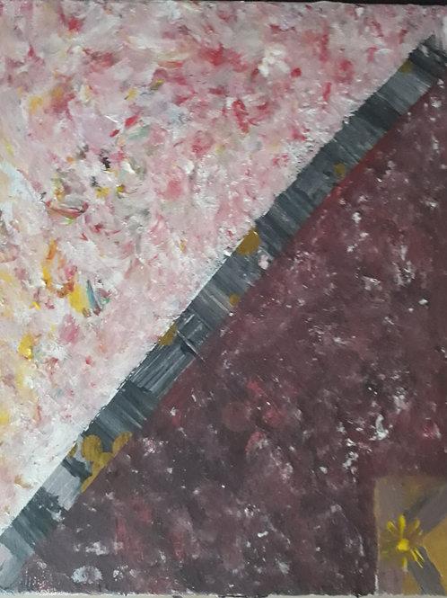 """Peinture """"Patchwork asymétrique et symbolique"""""""