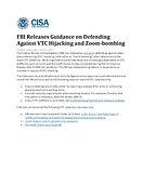CISA - FBI Releases Guidance on Defendin