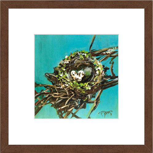Nest with Green - framed print