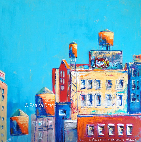 """Water Towers Baltimore, 24"""" x 24"""""""