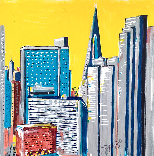 Oil & Acrylic painting on paper of San Francisco by Patrice Drago
