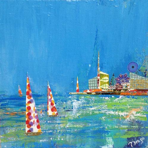 "Funtown Harbor , 12"" x 12"""