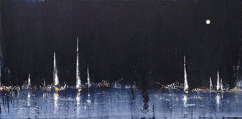 The Best Evening, Original sailboat abstract acrylic painting by East Coast fine artist Patrice Drago