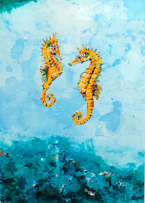 Seahorse play, original acrylic and mixed media painting on paper by fine artist Patrice Drago