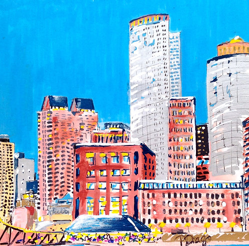 Oil & Acrylic painting on paper of Boston by Patrice Drago