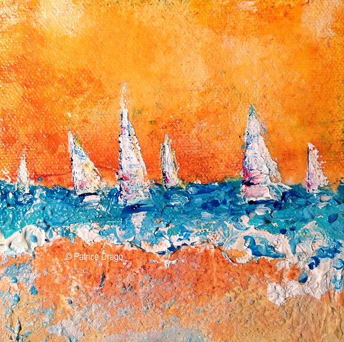 Lively, Original sailboat acrylic, mixed media painting by East Coast fine artist Patrice Drago