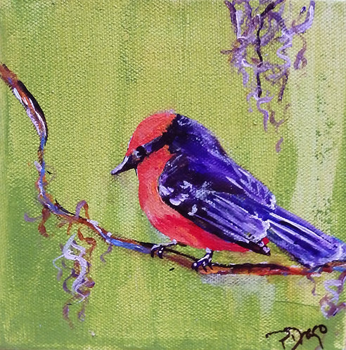 Vermillion Flycatcher, original bird painting, acrylic on canvas by East Coast Fine Artist Patrice Drago