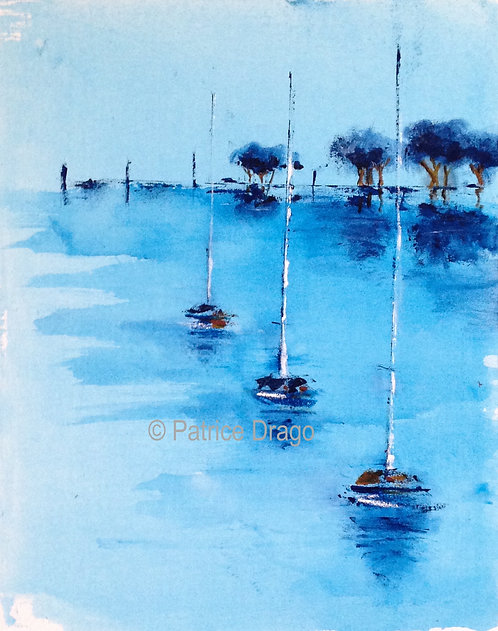 Quite Day, Original marine art, sailboat acrylic painting by East Coast fine artist Patrice Drago