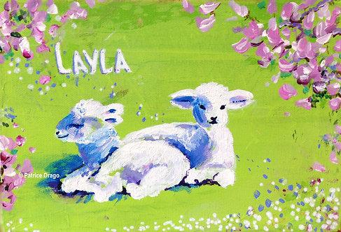 "Layla's Lambs, 8"" x 5"""