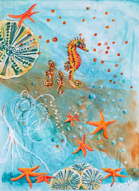 Hollywood Runway, original seahorse acrylic and mixed media painting on paper by fine artist Patrice Drago