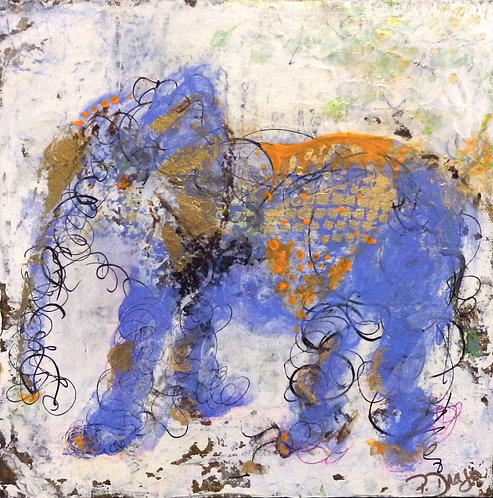 Elephant Dance, original animal painting, acrylic on canvas by East Coast Fine Artist Patrice Drago