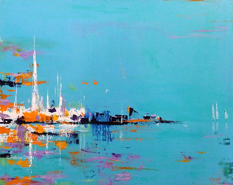 Harbor 1, Original marine art, abstract acrylic painting by East Coast fine artist Patrice Drago