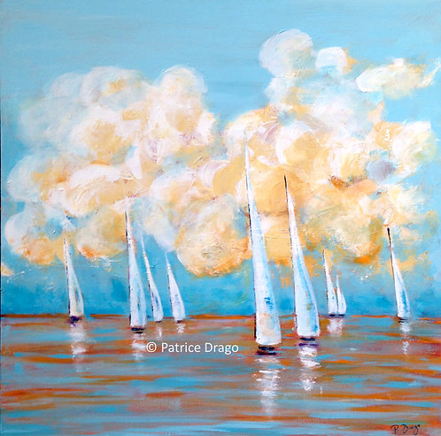 Billows, Original marine art, acrylic painting by East Coast fine artist Patrice Drago
