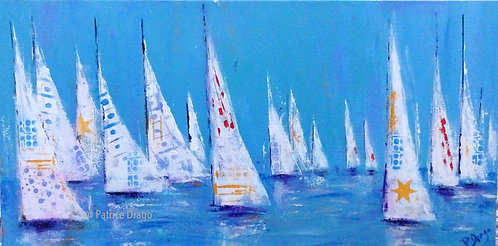 Fashion Show, original sailboat painting, acrylic on canvas by East Coast artist Patrice Drago