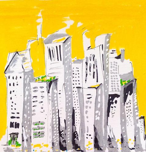 """Windy City, 5"""" x 5"""" Framed"""