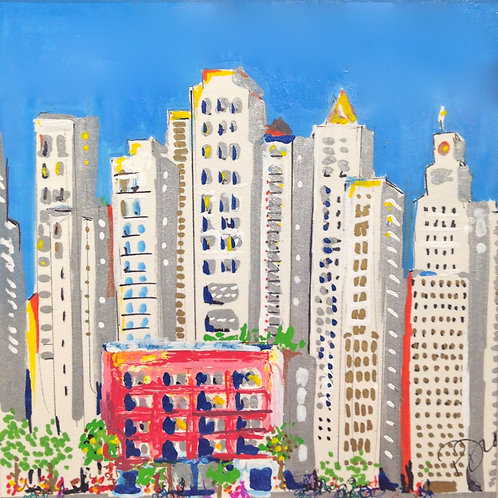 City scape drawing in oil & acrylic on paper by Patrice Drago