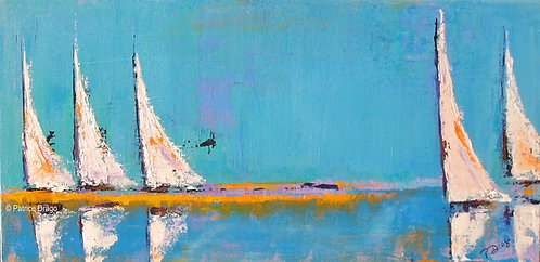 Lineup, original sailboat acrylic painting by East Coast fine artist Patrice Drago