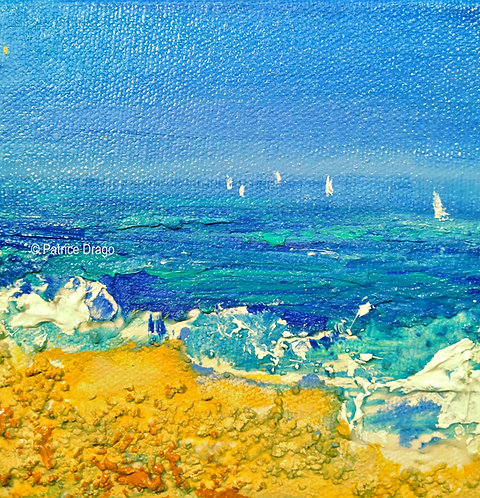 Everything, Original sailboat abstract acrylic, mixed media painting by East Coast fine artist Patrice Drago