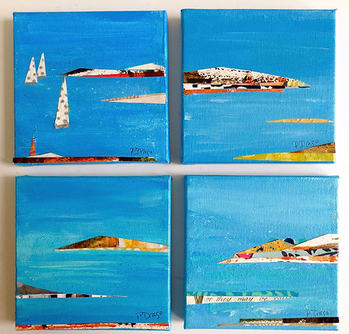 """Uncharted, polyptych, 4 of 5"""" x 5"""" each"""