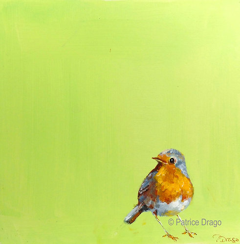 Where did everyone go? Original bird painting, English Robin, by East Coast Fine Artist Patrice Drago