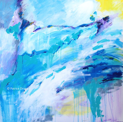 Original completed acrylic abstract painting, painted live at pavilion by Patrice Drago