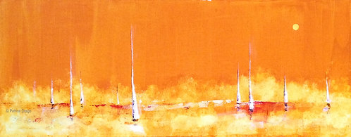 Summer Haze, Original marine art, abstract sailboat acrylic painting by East Coast fine artist Patrice Drago