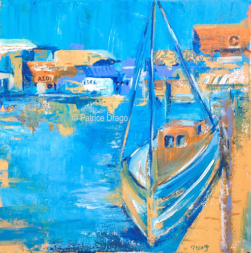 Early Morning, Original sailboat art, acrylic painting by East Coast fine artist Patrice Drago