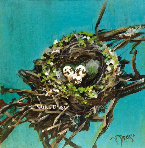 "Nest with Green Trim, 8"" x 8"""