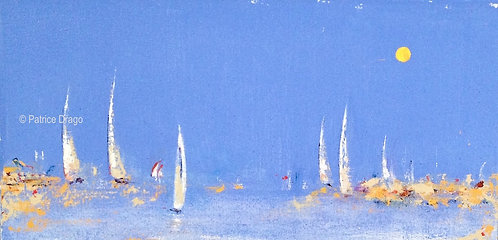 Coming to Play, Original sailboat abstract acrylic painting by East Coast fine artist Patrice Drago