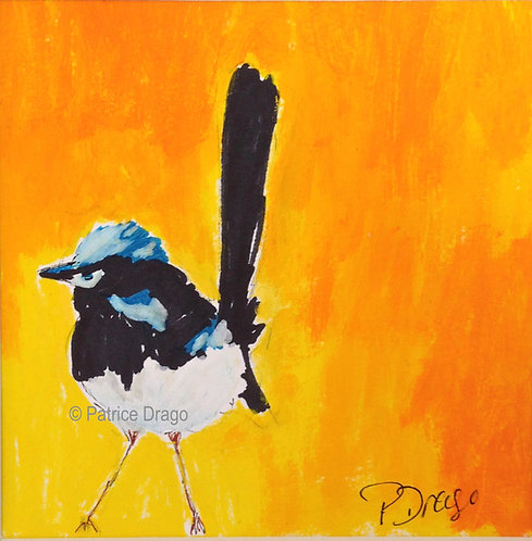 Original bird painting, acrylic and oil on paper by East Coast Fine Artist Patrice Drago