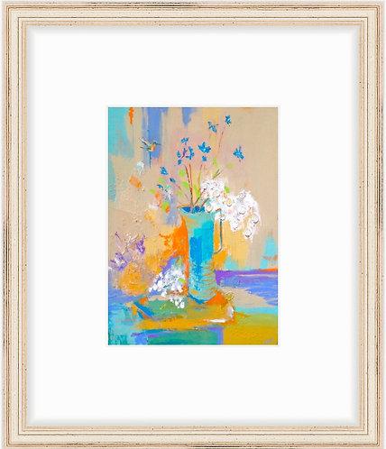 Hummingbird & Hydrangea - framed print