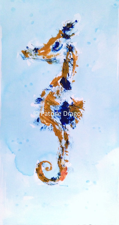 Original Seahorse painting, acrylic & oil sticks on paper by Patrice Drago