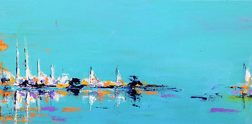 Harbor 2, Original marine art, abstract acrylic painting by East Coast fine artist Patrice Drago