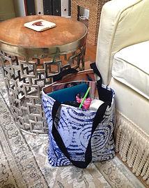 VIDA Tote Bag by Patrice Drago, full of