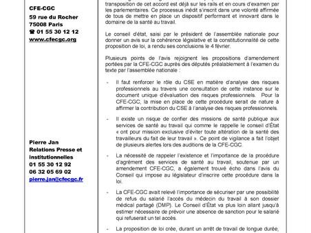 CP CFE-CGC : Proposition de loi santé au travail : les amendements CFE-CGC confortés par un avis du