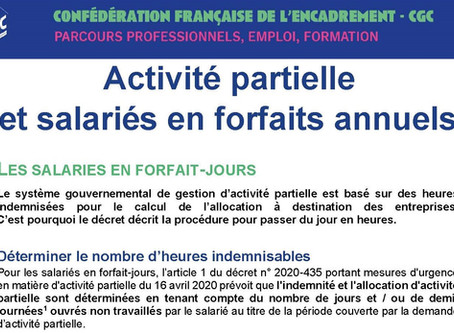 COVID-19 - Activité partielle et salariés en forfaits annuels