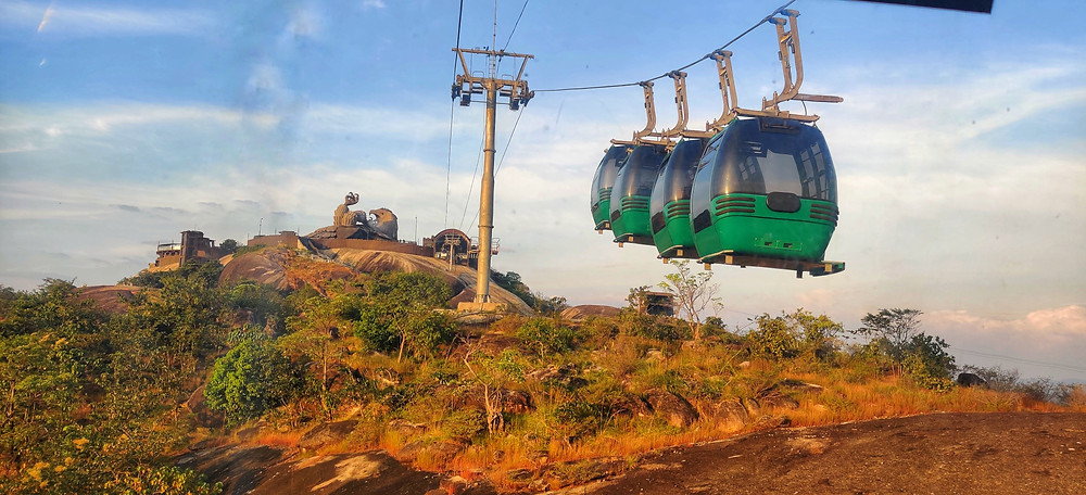 Cable car, World's largest bird sculpture, Jatayu Earth's Centre, Kollam