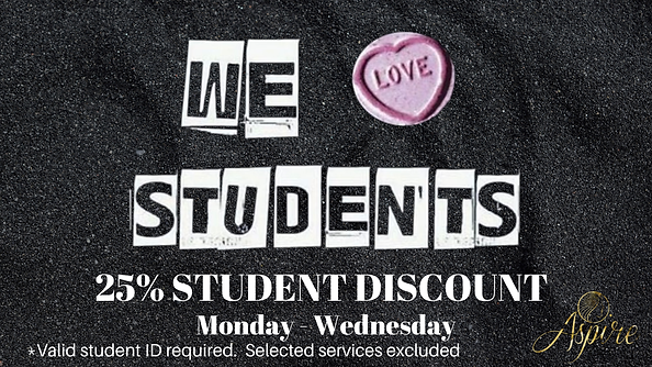 Student Discount Aspire Hairdressing & Beauty Linthorpe Road Middlesbrough