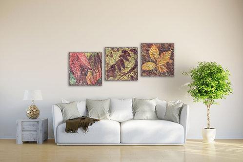 Модульная картина Древние бордовые цветы