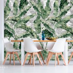 24_19179_19178_Банановые листья на кирпи
