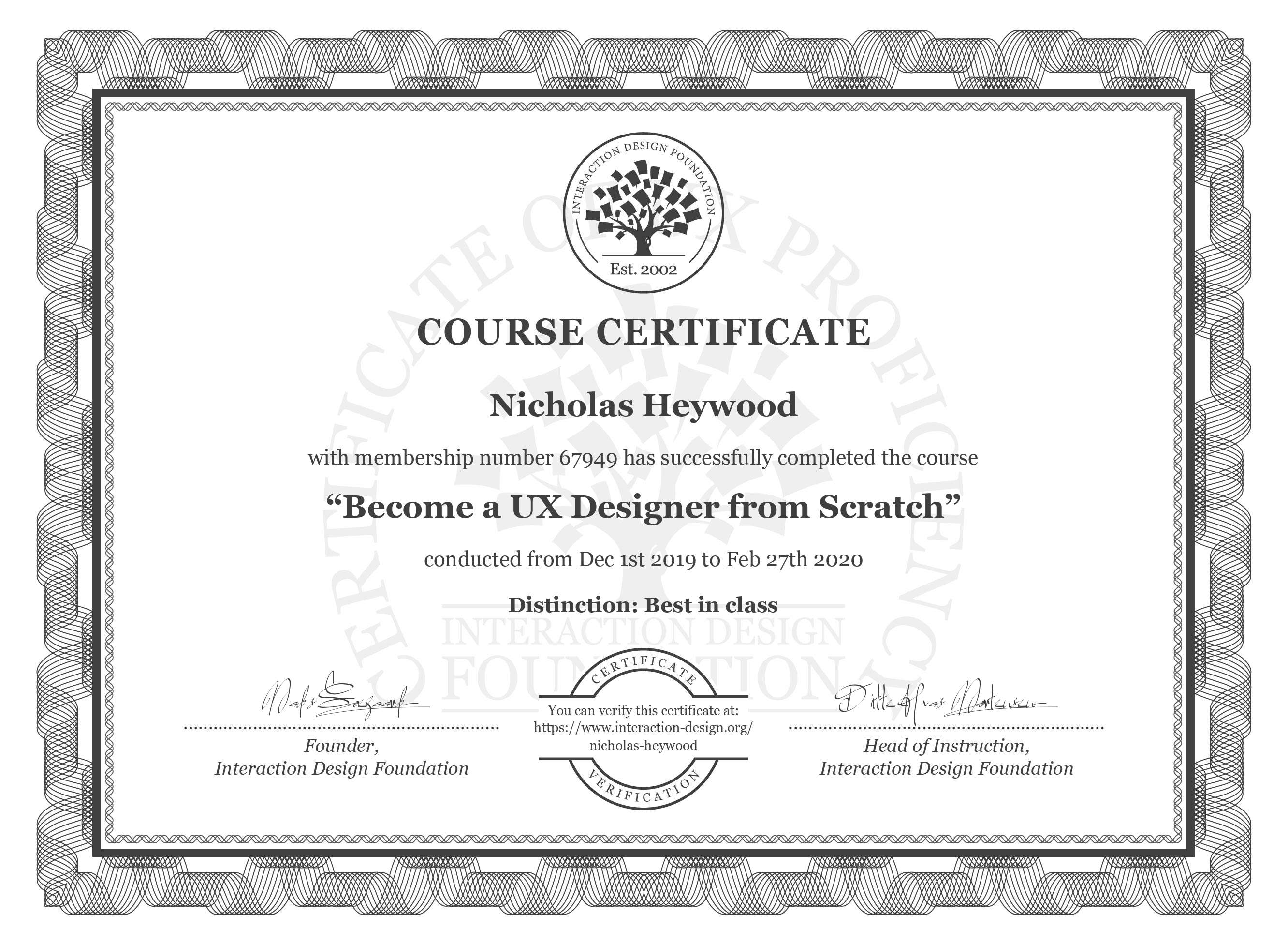 Nicholas' Certificate for completing a User Experience Designer course with IDF