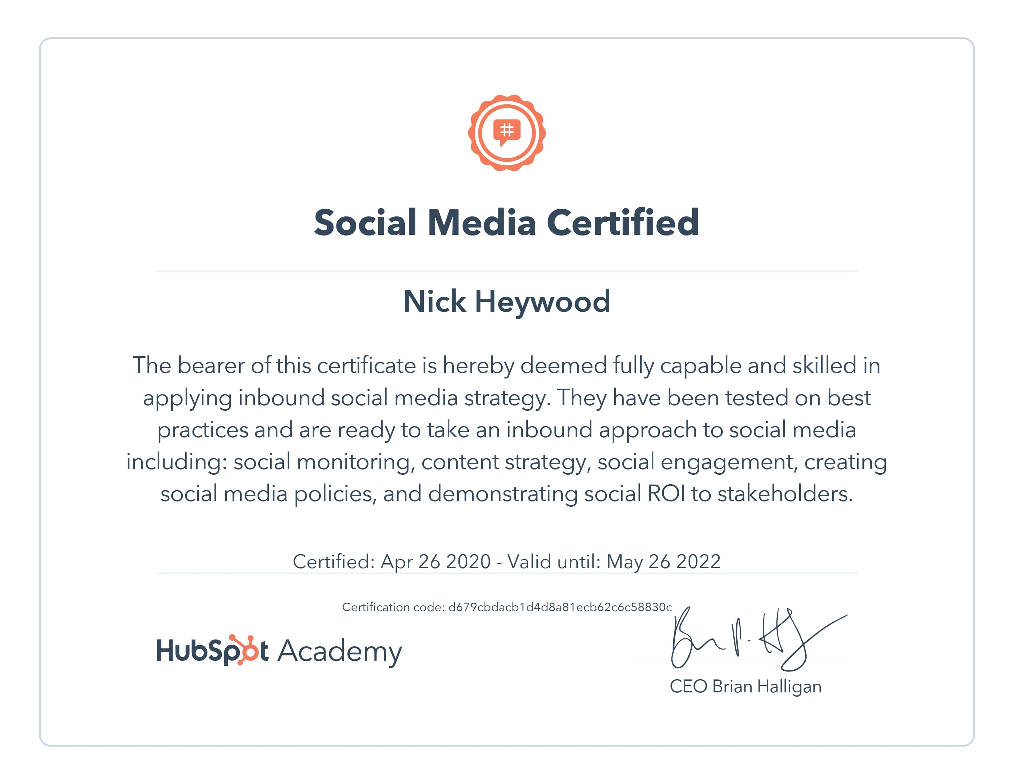 Hubspot Social Media Certificate - Nicholas Heywood