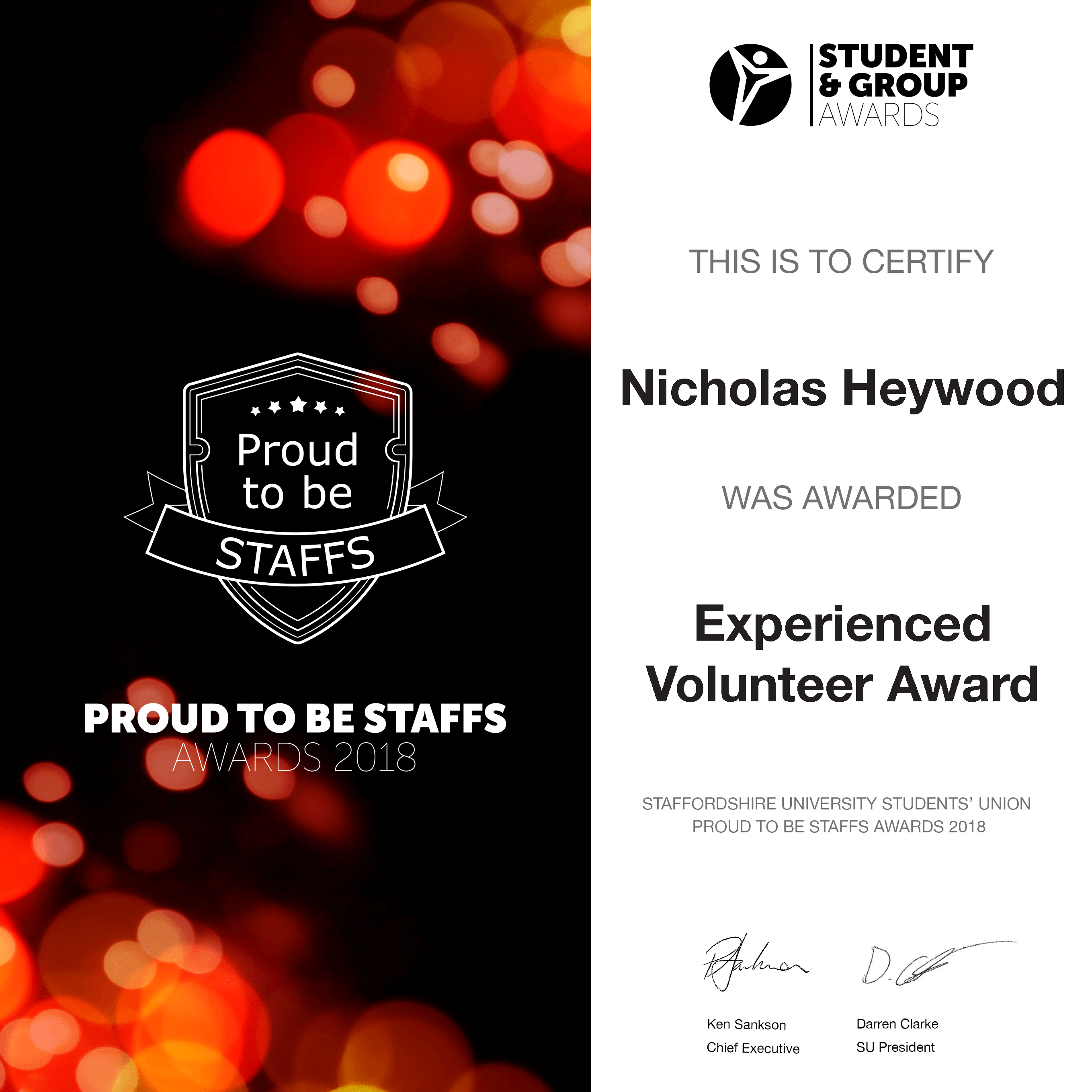Experienced Volunteer Award 2018 - Nicholas Heywood