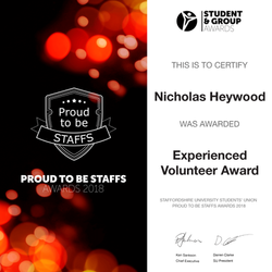 Experienced Volunteer Award 2018 - Nicholas Heywood