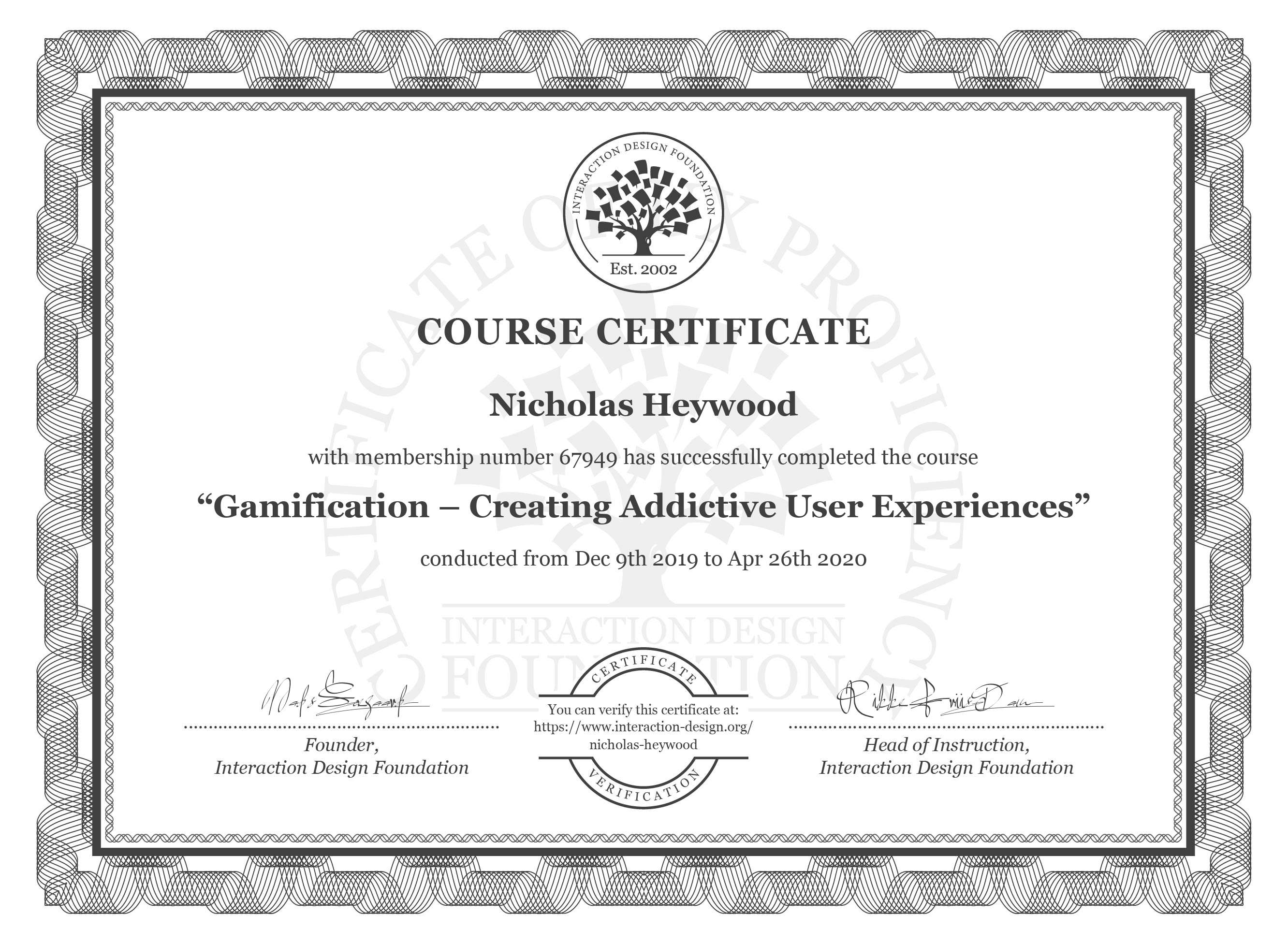 Nicholas' Certificate for completing a gamification course with IDF
