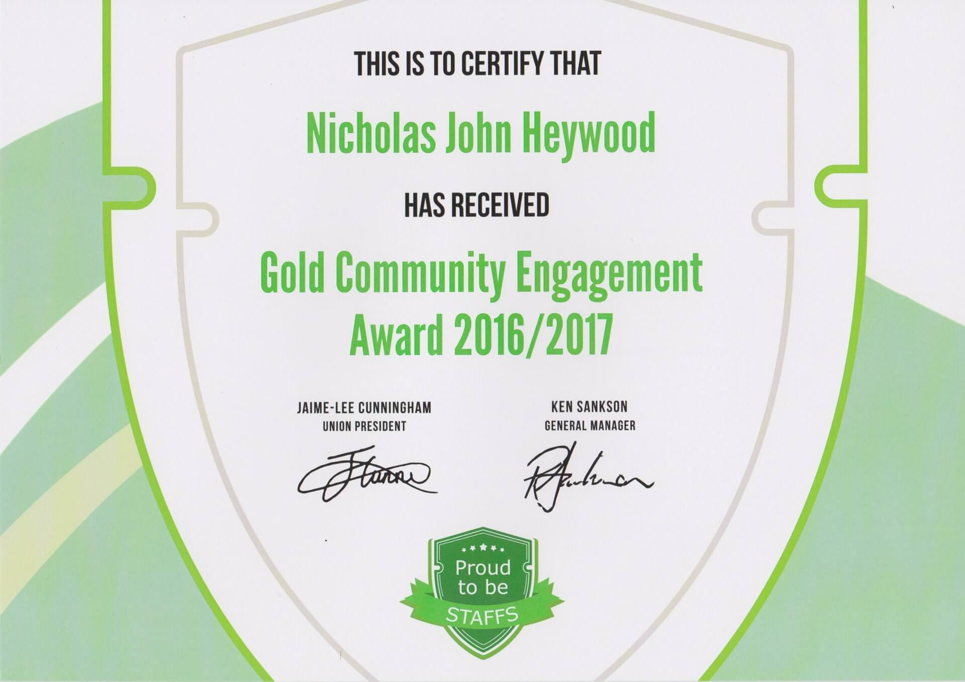 Gold Community Engagement Award 16/17 - Nicholas Heywood