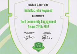 Gold Community Engagement Award 16/17 - Nicholas Heywood