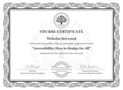 Nicholas' Certificate for completing an accessibility course with IDF