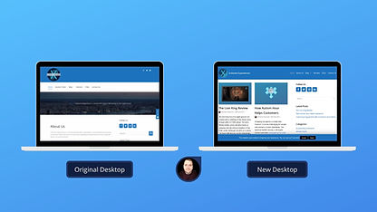 Photograph of comparison between an original and redesigned website.
