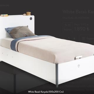 White Bazalı Karyola (100x200 Cm)